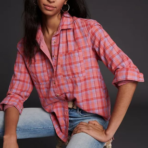 Pilcro The Romy Relaxed Plaid Buttondown